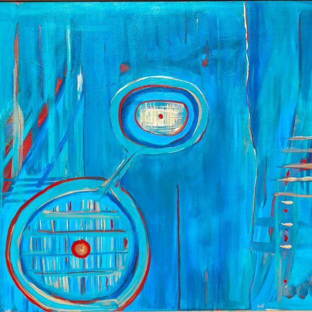 "Relationship Circles, 30X40"" acrylic, 2015"