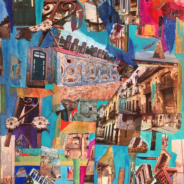 "Havana Stories collage 30X40"", mixed media"
