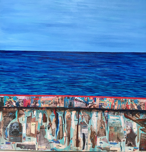 "El Malecon 36X36"", mixed media"