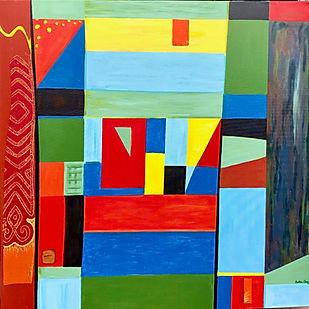 """Corona Quilt 36X36"""", mixed media abstract"""