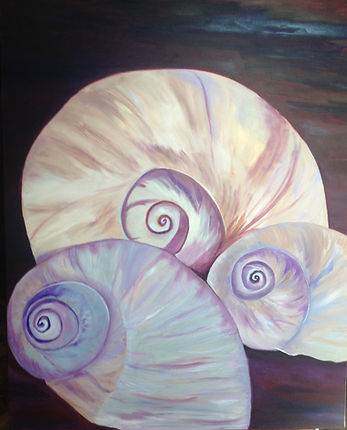 "Moon Shells 22X28"" oil painting"