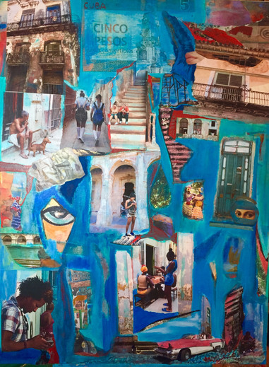 "Gossip: Havana Stories, 30X40"",mixed media"