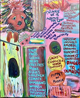"Lies and Misdimeanors, 24X30"", acrylic"