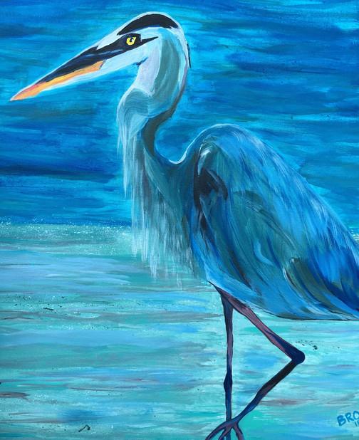 "Grey Heron Night, 16X20"" acrylic"