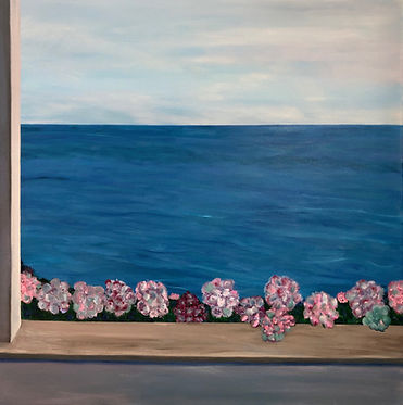 "Sconset Summer Balcony View, 36X36""  acrylic"
