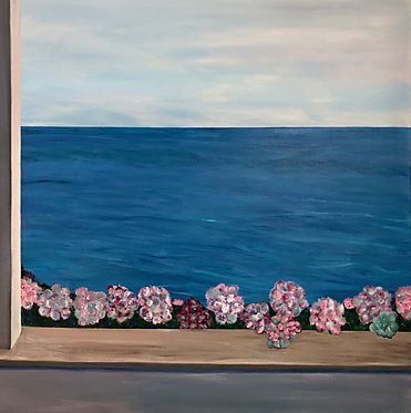 "Sconset Summer Balcony View, 36X36""  acrylic"