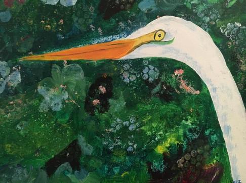 "Egret Watch,16X20"" acrylic"