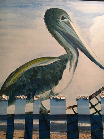 "Captiva Pelican16X20"", mixed media"