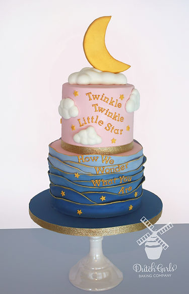 Twinkle little stars gender reveal cake