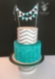 welcome baby chevron and ruffles cake
