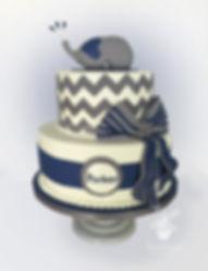 navy blue elephant baby shower cake