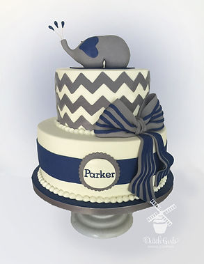 navy blue elephant baby shower cake