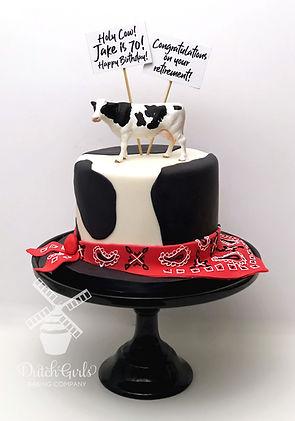Dairy Retirement Birthday Cow Cake