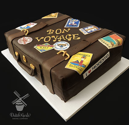 Bon voyage graduation suitcase cake