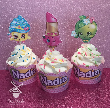 Shopkins cupcakes with customized wrappers