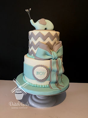 elephant baby boy shower cake