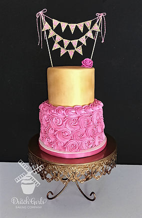 pink and gold rosette birthday cake