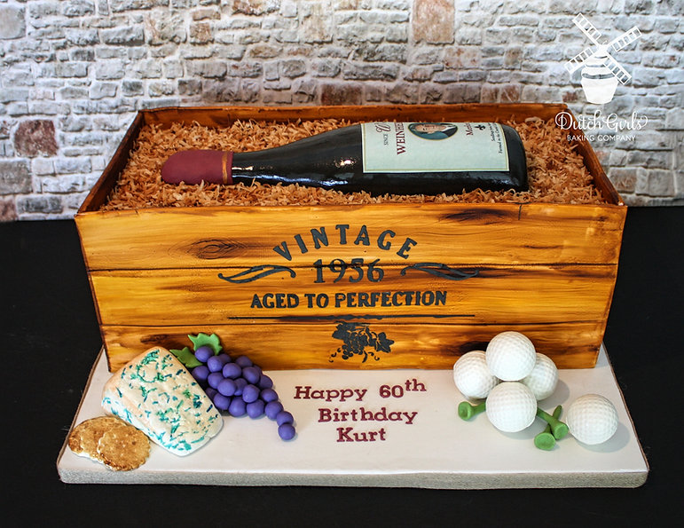 Vintage Aged to Perfection Wine bottle Crate Cake
