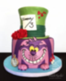 Alice in Wonderland Birthday Cake Cheshire Cat Mad Hatter
