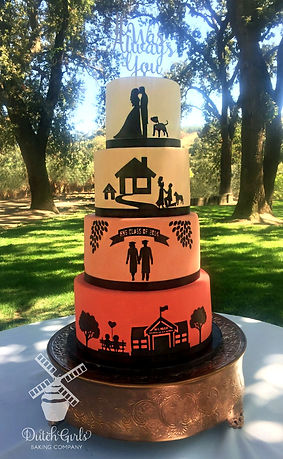 silhouette story wedding cake