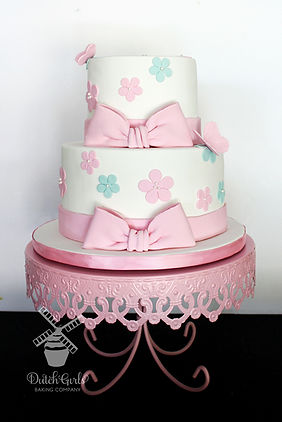 Pink and Aqua Baby Girl Shower Cake