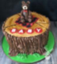Baby Bear tree stump cake