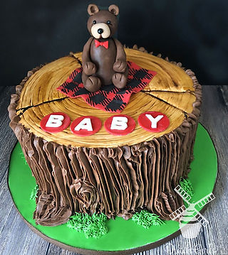 Baby Bear tree stump cake