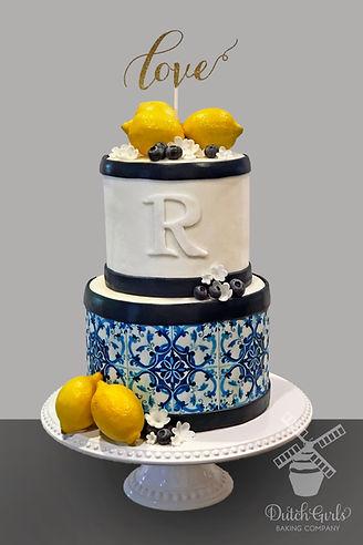 Portuguese tile and lemons shower cake