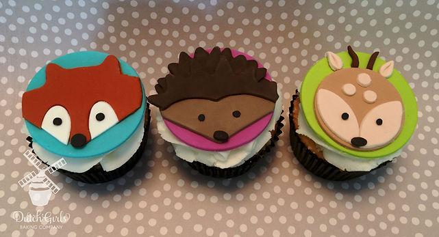 fox hedgehog and deer cupcakes