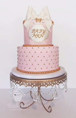 Pink and gold baby girl shower cake
