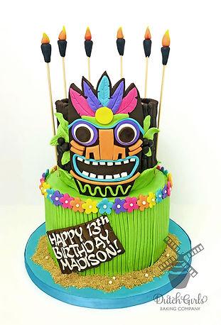 Tiki hawaiian birthday cake