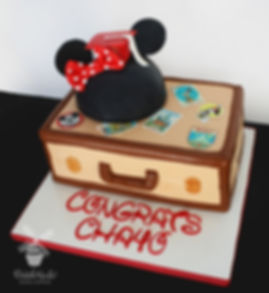 minnie mouse graduation suitcase cake