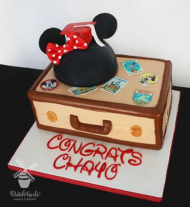 minnie mouse graduation suitcase cake