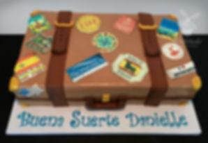 Going away suitcake cake