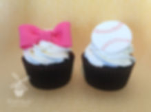 Gender reveal Cupcakes Bow or Baseballs
