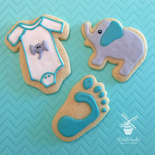 baby shower elephant cookies