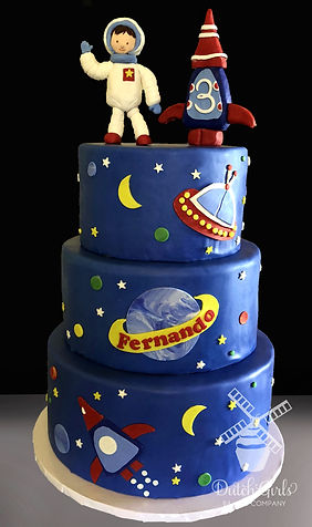 Outer space astronaut birthday cake