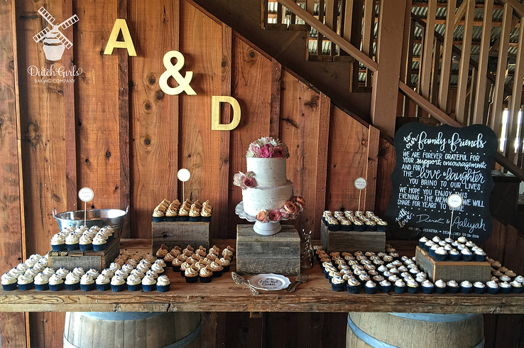 Wedding cake and cupcakes dessert table
