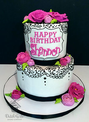 Pind and Black Happy Birthday cake