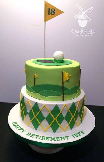 Golf 18th hole retirement cake