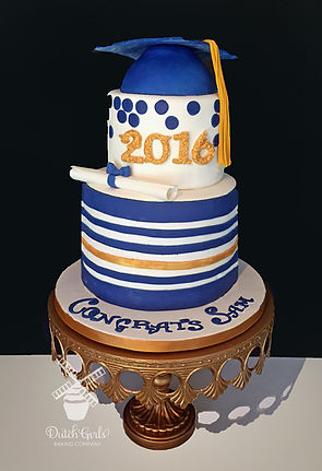 blue and gold grad cake