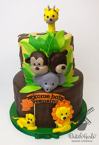 Welcome baby safari animal cake