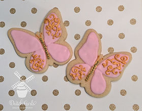 pink and gold butterfly cookies