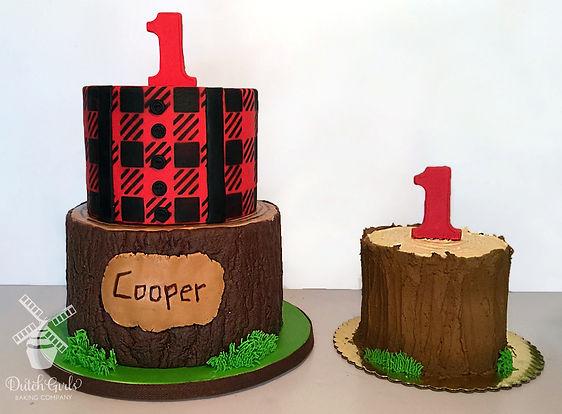 Lumberjack birthday cake and smash cake