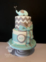 elephant baby boy shower cake