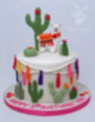 llama cactus birthday cake