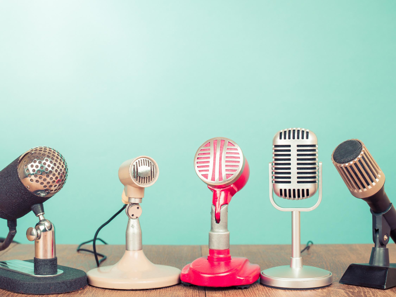 Retro old microphones for press conferen