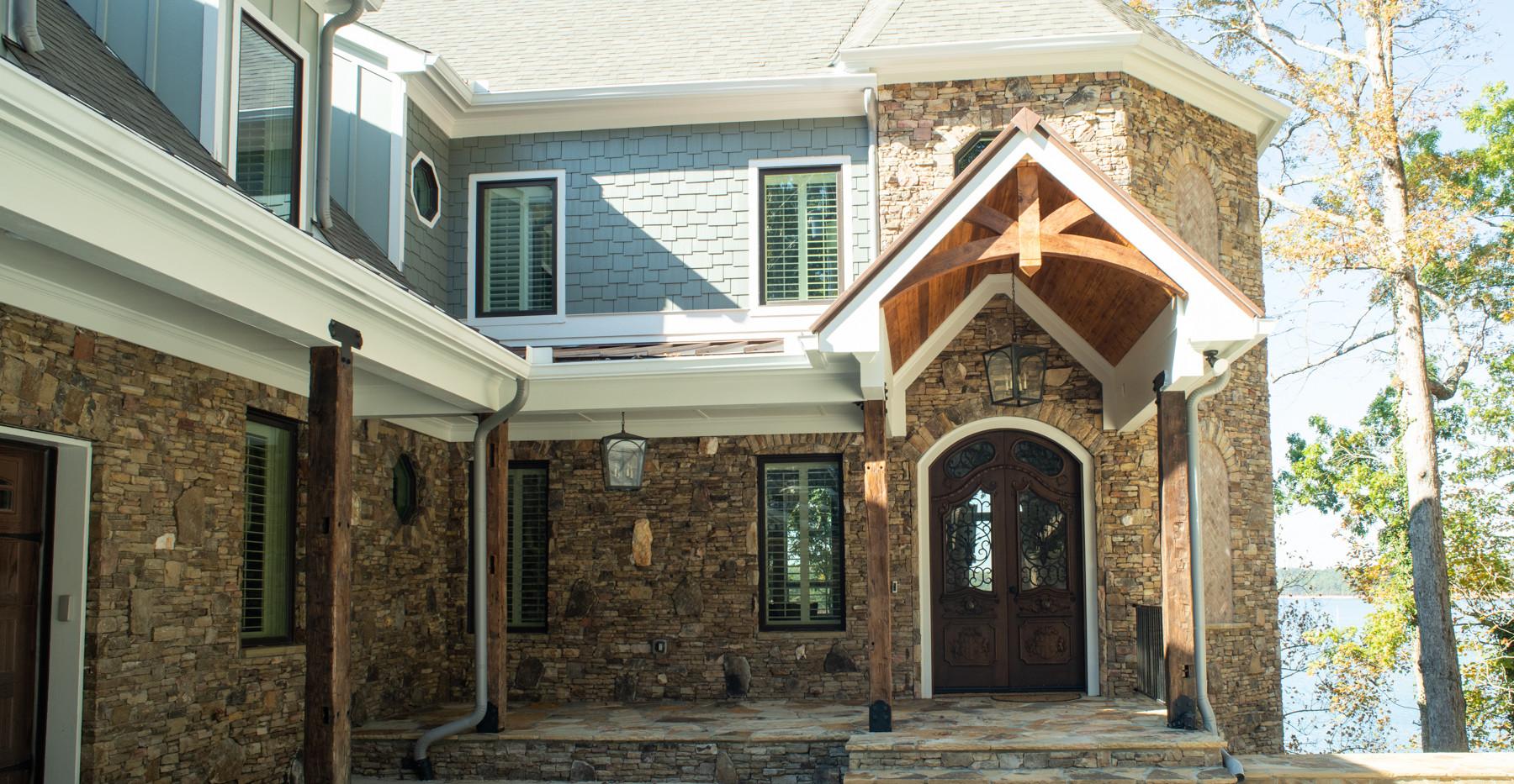 Lake house entrance custom doors