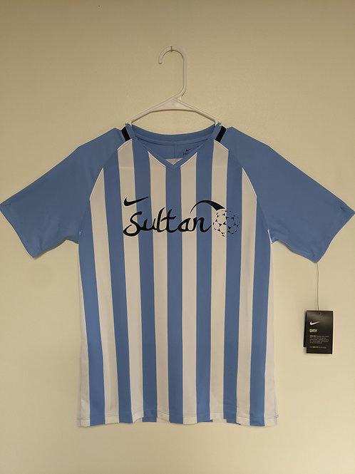 youth xl - Nike - royal blue/white stripe short sleeve shirt