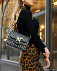 cardinalno time 9 quilted leather double chain shoulder bag duomo milano social media sharecampaign